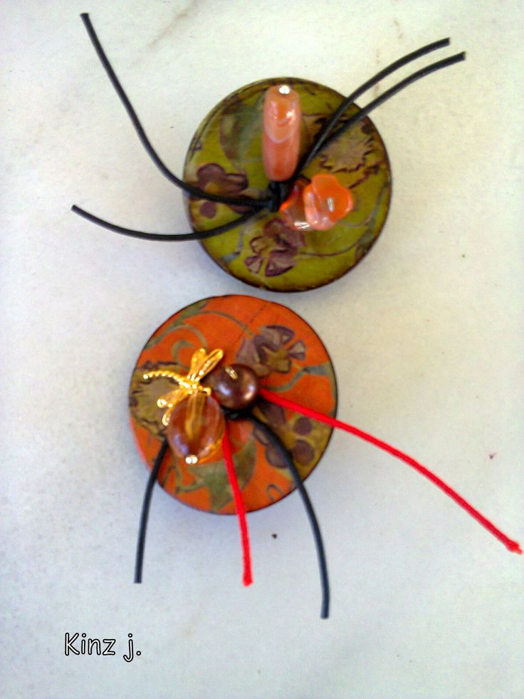 painted buttons earrings/KINZ jewelry