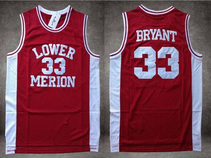 NBA+Lakers+All+Star+Kobe+Bryant+Red+Lower+Merion+Retro+High+School+Basketball+Jersey+33