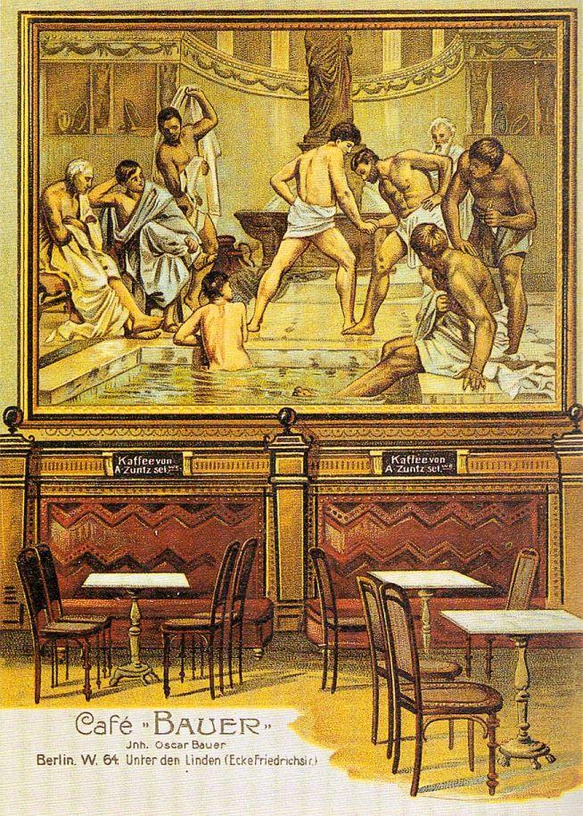 Café Bauer Innen Postkarte 1878.