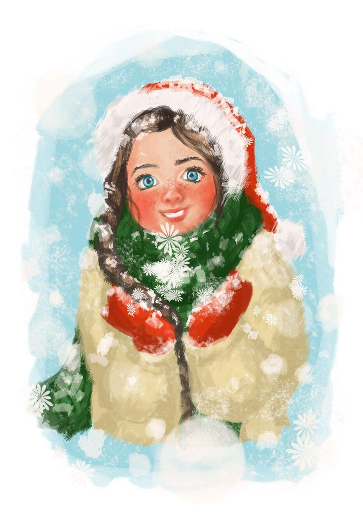 Little girl and Christmas time