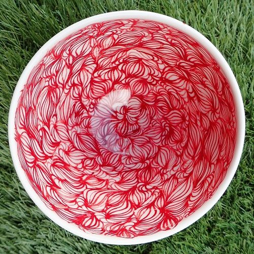 Red porcelain bowl / Bol rouge en porcelaine - © Un Hibou dans la Tasse