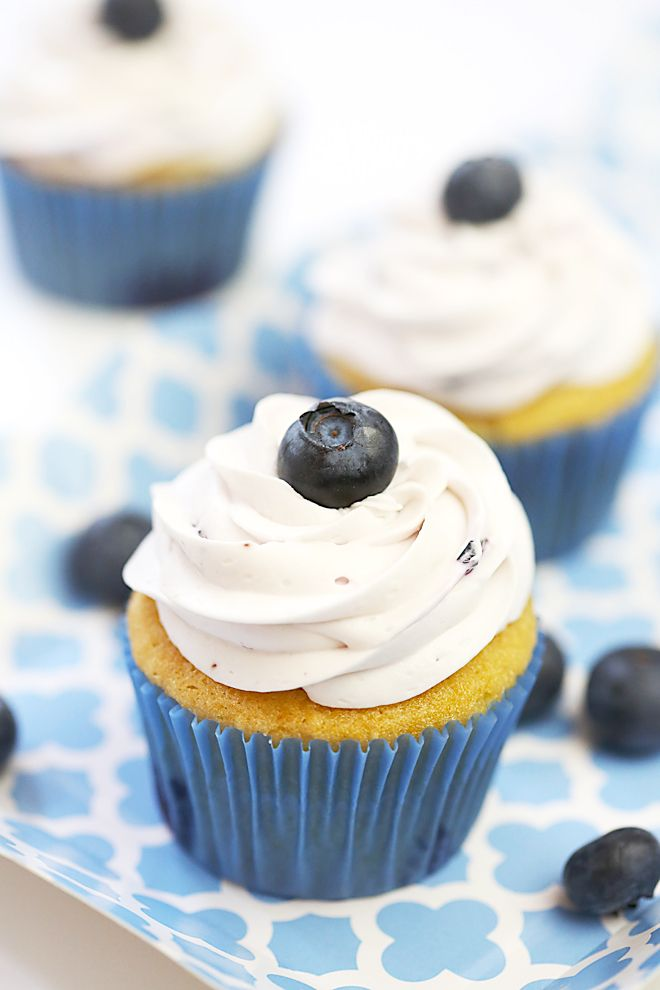 """Blueberry Vanilla Cupcakes.'  These would be fun with strawberry or raspberry too!  (Even better if made with from-scratch cake mix instead of a box).  -KWA"