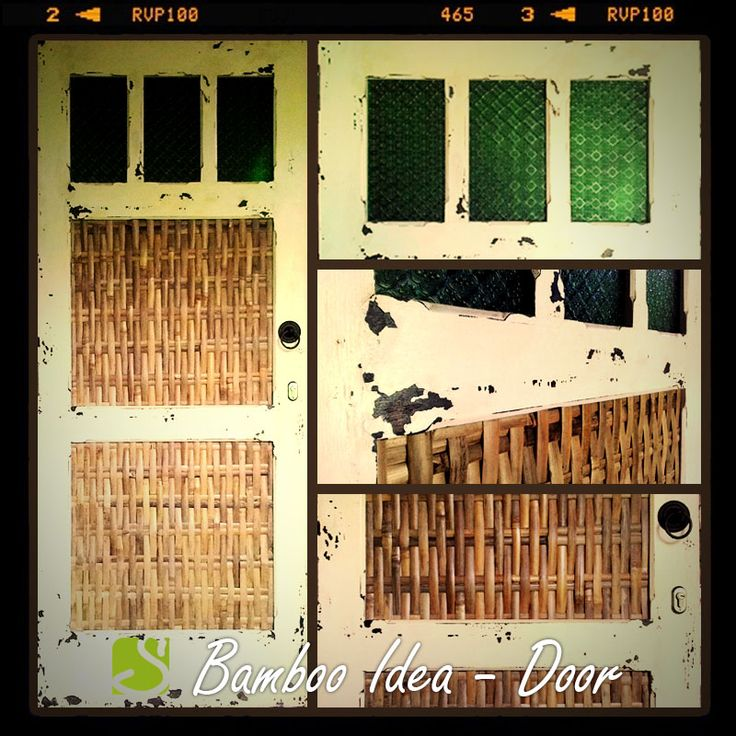 Bamboo on the recycled door? Why not? Complete it with weathered & distressed paint to get WOW effect. #ideas #roomdecor #door #bamboo #oriental #recycled #weathered #distressed #paint  #sokokayu
