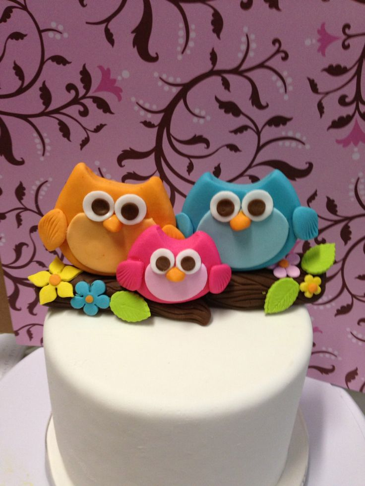 Owl Cake Decor : Edible owl cake topper