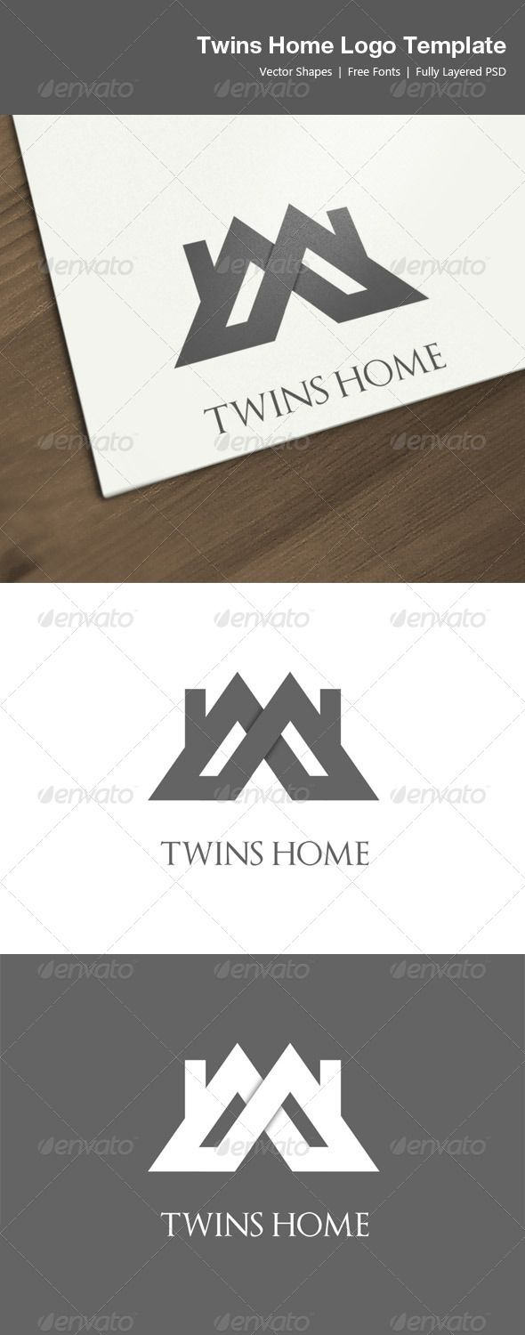 Twins Home Logo Template — Photoshop PSD #modern #home. building • Available here → https://graphicriver.net/item/twins-home-logo-template/4255898?ref=pxcr