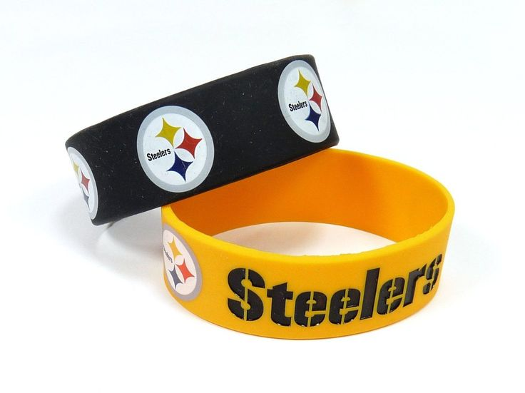 Official Licensed NFL Pittsburgh Steelers Silicone Rubber Bracelet Set 2-Pack