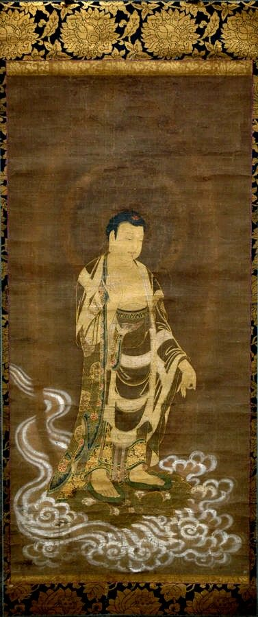 Welcoming Descent of Amida Buddha. Period: Muromachi period (1392–1573). Date: 15th–16th century. Culture: Japan. Medium: Hanging scroll; ink, color, and gold on silk