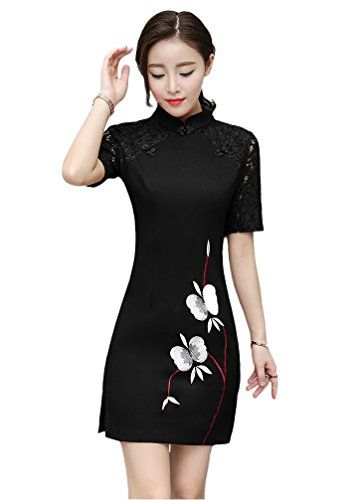 d09469fde Women Short Slim Dress Chinese Style Evening Party Qipao Cheongsam - Black,  3X ** Click on the image for additional details.