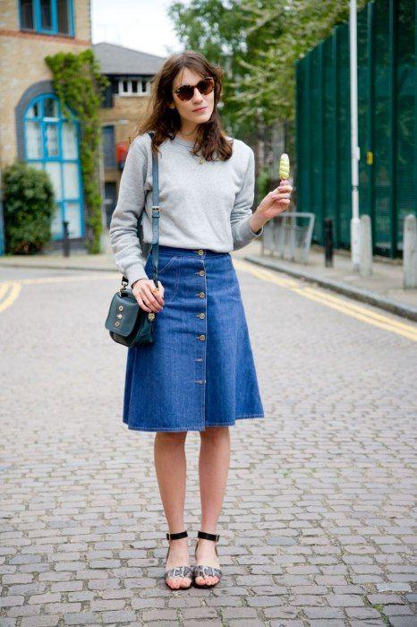 42 best How to wear: Denim Skirt images on Pinterest | Skirts ...