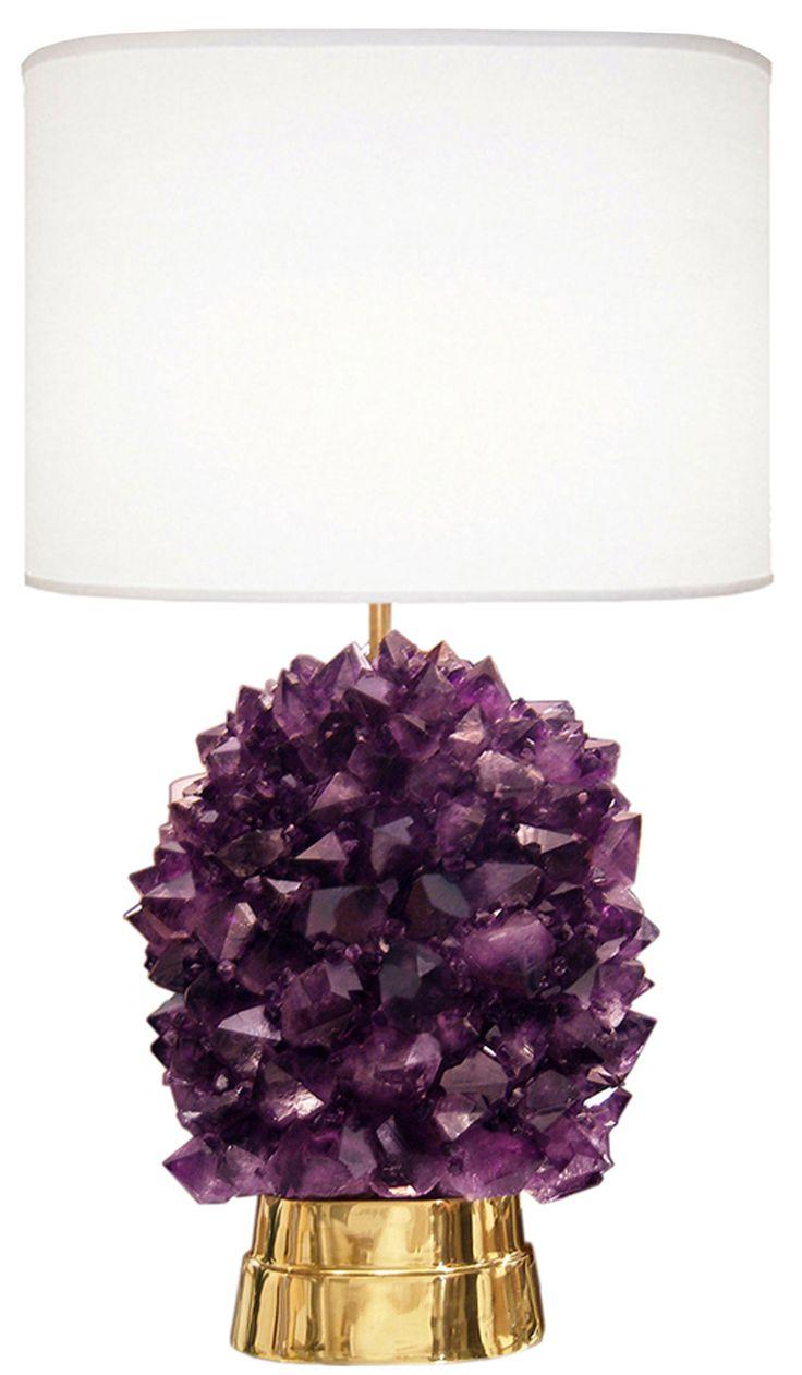 Lead crystal table lamp - Amethyst Rock Crystal Lamp