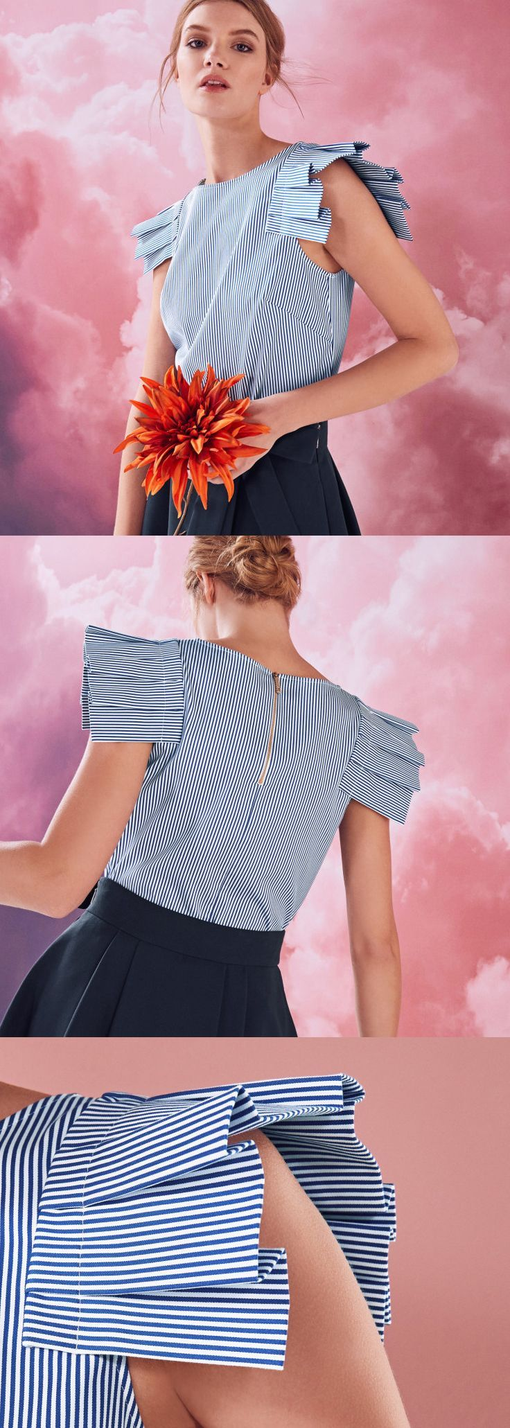 Ted Baker - Striped frilled shoulder cotton-blend top. Watch your new season dressing come into line with the AMELLA top. Softly structured in a cotton-rich fabric, this effortlessly feminine piece is defined by its ruffled sleeves and intricately striped finish. Statement Sleeves, Striped Blouse. Deconstructed fashion ideas, outfit inspiration. Formal Office Work Wear. #fashion #fashionista #outfits #affiliatelink #pinspiration