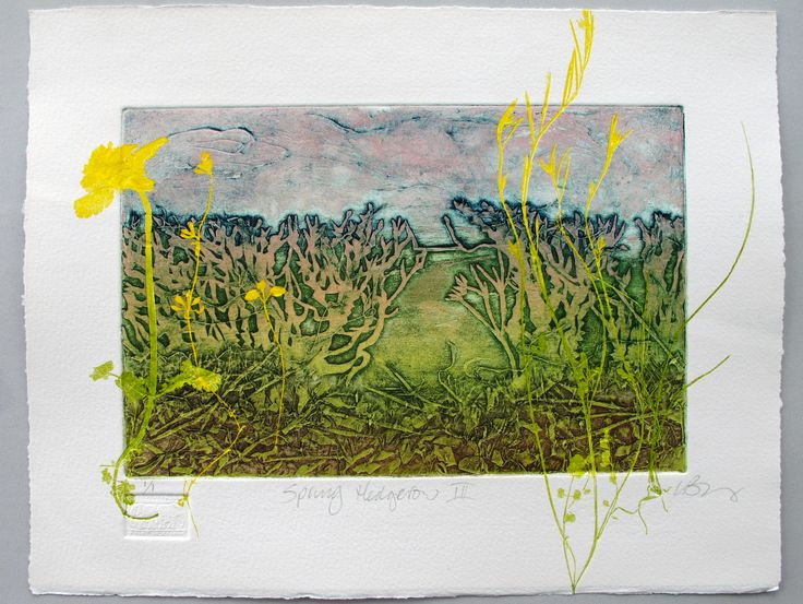 Hedgerow collagraph by Lynne Bailey. She has a great video on her web site showing the technique of collagraph.