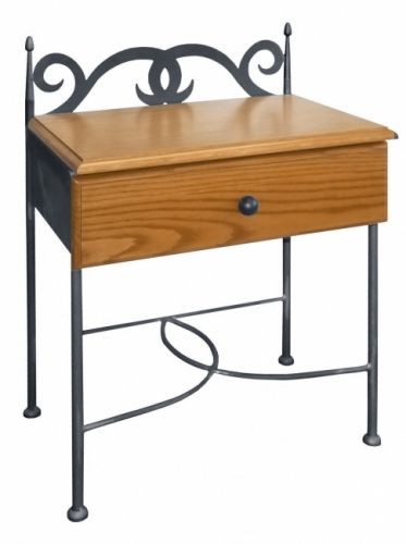 IRON-ART Nočný stolík CARTAGENA s drevom   matrace-vegas.sk