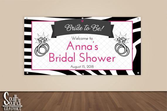 Bridal Shower Banner - Custom Hot Pink Zebra Wedding Shower Photo Backdrop - Bride To Be Wedding Banner Sign - Bridal Shower Vinyl Backdrop