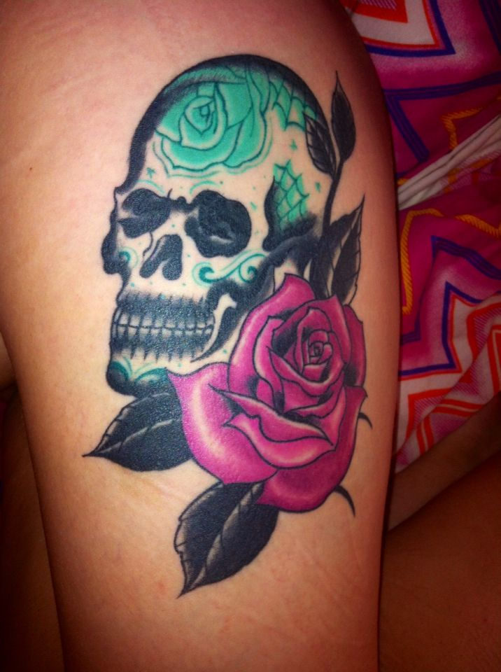 My sugar skull tattoo  #sugarskull #skull #thigh #tattoo #inlove #pink #rose #flower #ink #girl #candy #green #pretty #cool #obsession