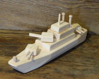 Wood Toy Battleship WW2 Wooden Toys ship Navy Handmade Eco friendly natural Gun Boat WW1 military Toys Made In USA