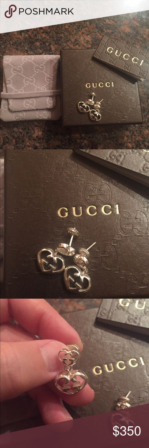 Authentic, new Gucci logo earrings Silver earrings from Gucci.  Complete with box, pouch, booklet.  Brand new Gucci Jewelry Earrings