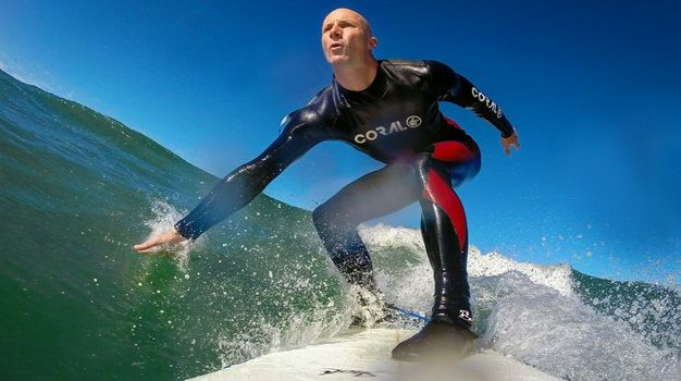 Surfing Cape Town's Muizenberg beach in winter.