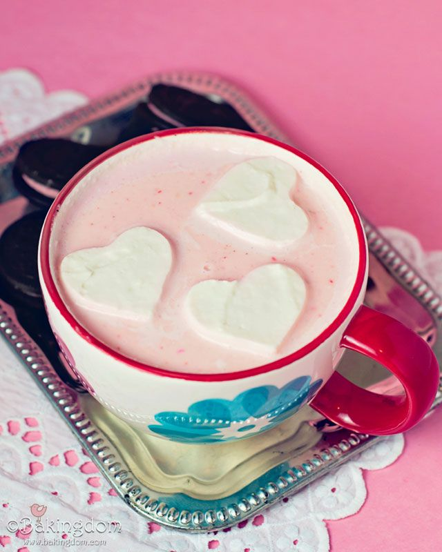 Whipped Cream Marshmallows and Strawberry White Hot Chocolate. The sweetest of comfort concoctions! #recipe