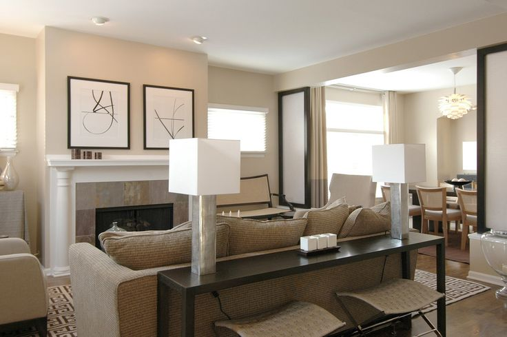 narrow-sofa-table-Family-Room-Contemporary-with-artwork-baseboards ...