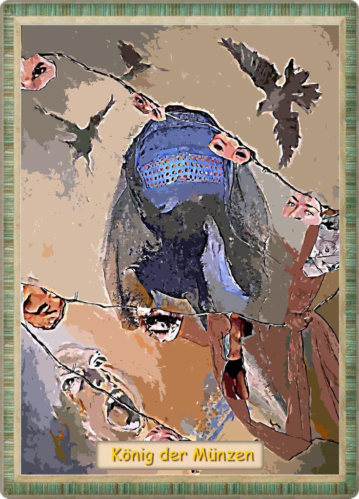 Tarot-Karte Der König der Münzen -  Die Symbole der Sternzeichen Stier und Steinbock und das Element Erde kennzeichnen die Aussage dieser letzten Karte aus der Reihe der Münzen. Steinbock, Stier und Erde stehen für das Materielle, dass Greifbare. Ebenso macht es der König der Münzen. Seine Angelegenheiten stehen auf fruchtbarem Boden. Wie sein weibliches Pendant, die Königin der Münzen ist auch er eine verantwortungsvolle und sehr bodenständige Person...