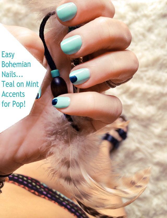 The 25 best bohemian nails ideas on pinterest tribal nail easy bohemian mint nails with teal accents prinsesfo Gallery