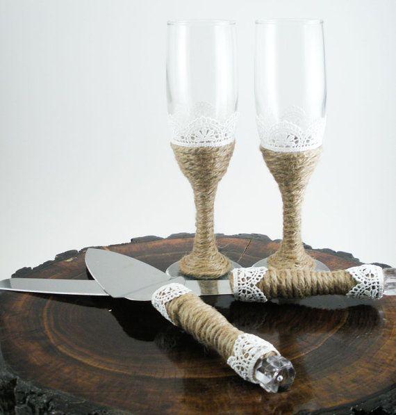 Rustic Wedding Serving Set Glass Champagne by MorningBugWeddings