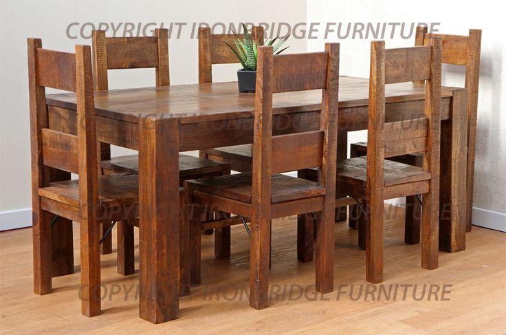 Rustic Farm 180cm Dining Table 6 Rustic Farm Chairs 2