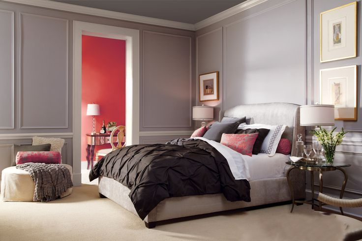 Bedroom Clark + Kensington Paint Colors: Walls: Mysterious Gray N-C19 Picture Moldings: Silk and Satin N-C27 Ceiling: Cobblestone Street N-C23 Trim: Antique White