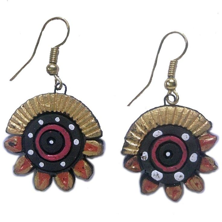 Clay Jewelry from Krishnanagar Handicraft Product New Design Stylish - Round Petal Burnt Clay - Water-proof colour