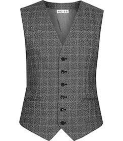 Mens Grey Check Modern Waistcoat - Reiss Smithers W