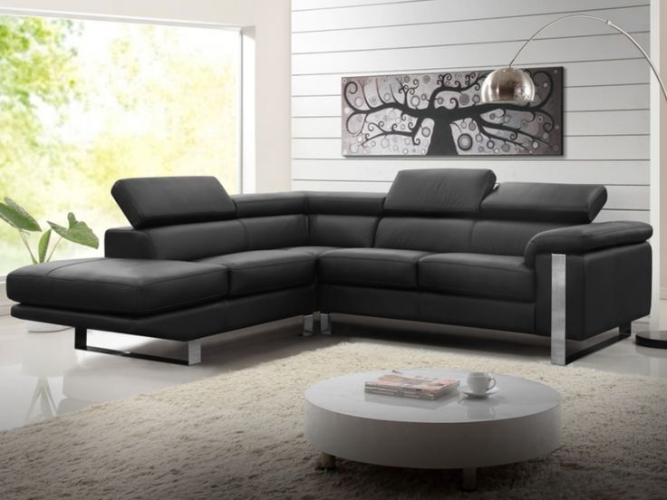 Canapé+d'angle+en+cuir+MYSTIQUE+-+Noir+-+Angle+gauche