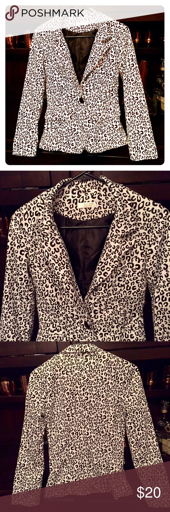 Black and White Leopard Blazer - S Super cute black and white leopard blazer - great for dressing up or down. Jackets & Coats Blazers
