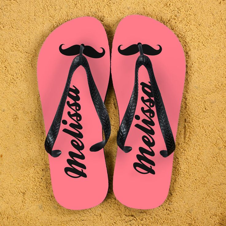 Moustache Style Personalised Flip Flops in Pink - yourgifthouse