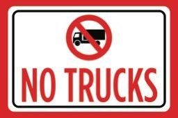 No Trucks Print Red Black White Notice Picture Symbol Outdoor Business Sign Large 12 x 18 - Aluminum Metal
