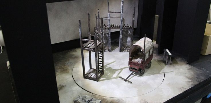 Behind the set for Mother Courage - HOME