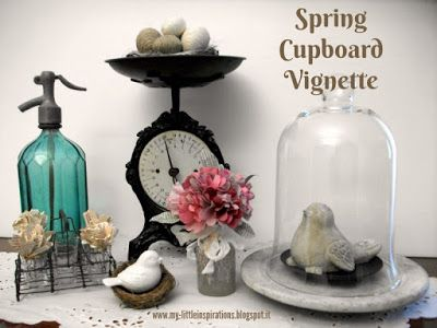 Spring Cupboard Vignette: tips on how to stage a themed vignette - My Little Inspirations #thecreativefactory #handmadespring