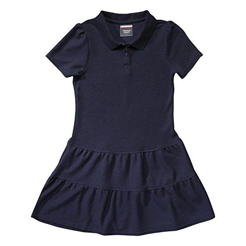 French Toast Ruffled Pique Polo Dress Girls Navy 10