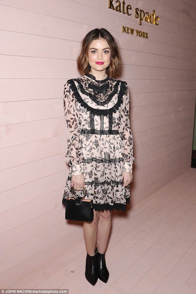 Her best foot forward: Lucy Hale flexed her fashion muscle in a stunning pink and black fl...