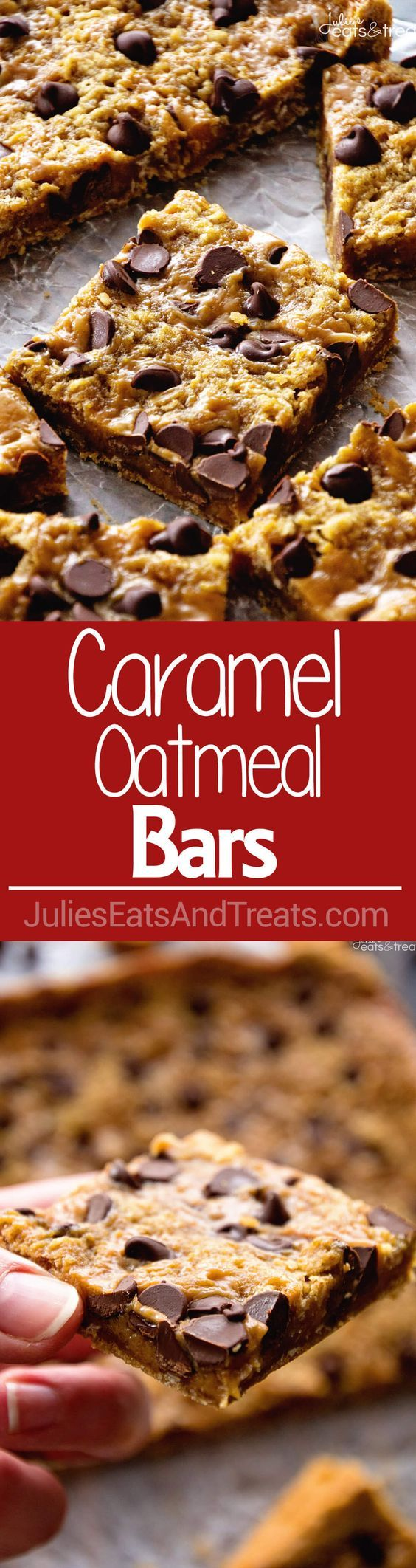 Caramel Oatmeal Bars ~ with a delicious, ooey, gooey layer of caramel and sweet chocolate chips for a quick, easy dessert!