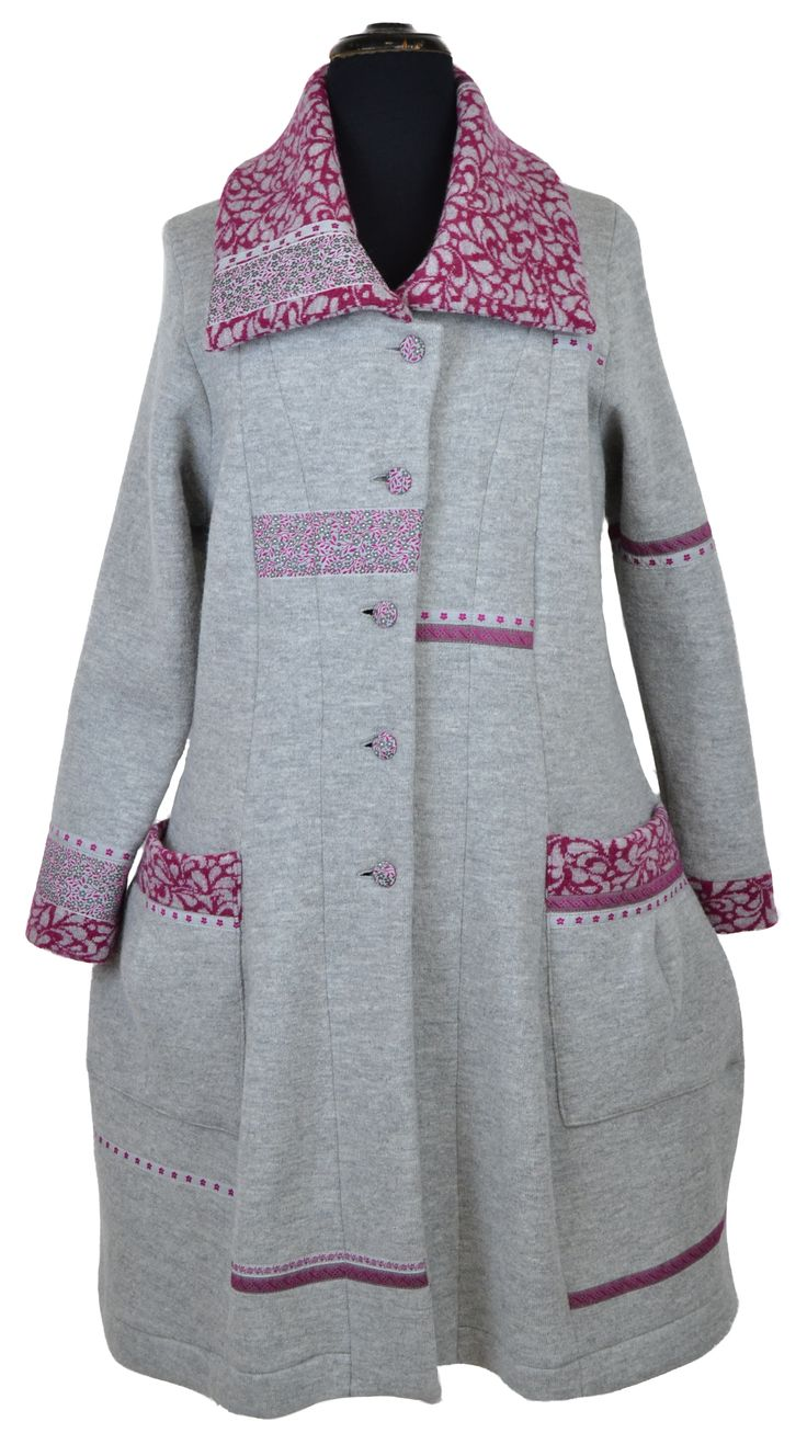 beautiful coat, decorated with our #Jacquard #ribbons. Coat pattern from www.natur-zum-anziehen.de