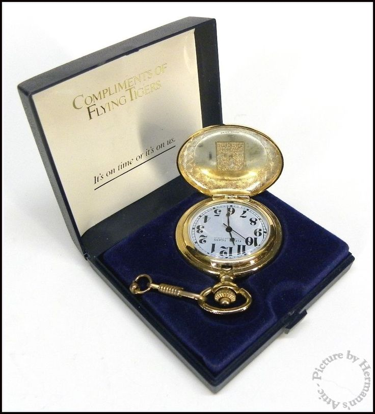 FLYING TIGERS AIRLINES Complimentary 19 Jewel Gold Pocket Watch w Case & Chain