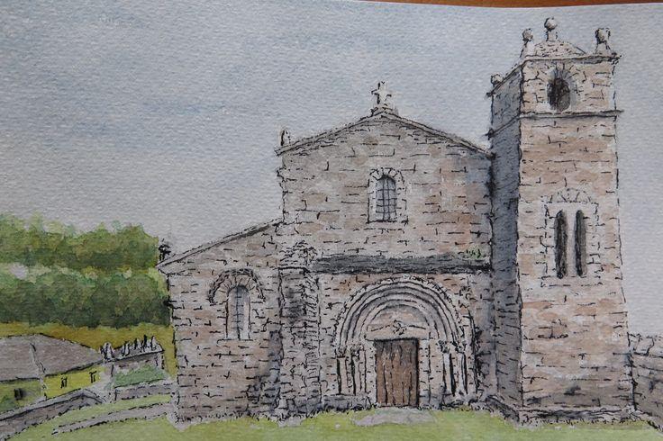 Basílica románica de S. Martiño en Foz.  LUGO Acuarela y rotulador en papel Fabriano 300g.  13 x 18
