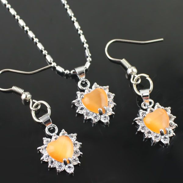 Orange strass Collier Set