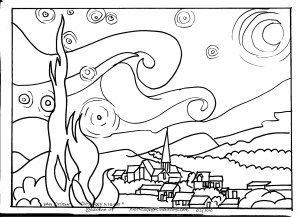 Outlines of famous works of art for kids to color.