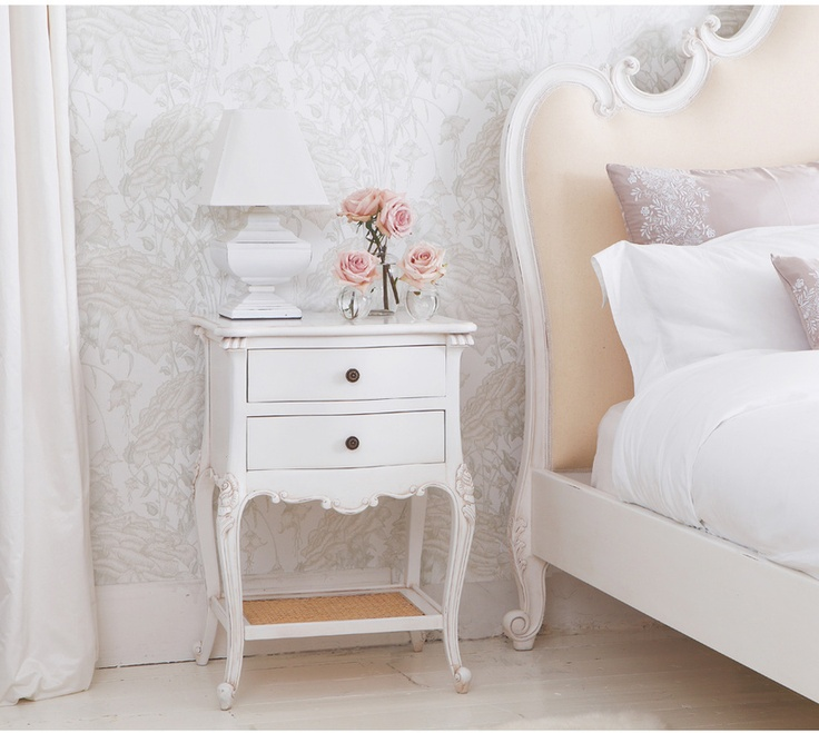 Provencal 2 Drawer Shabby Chic White Bedside Table