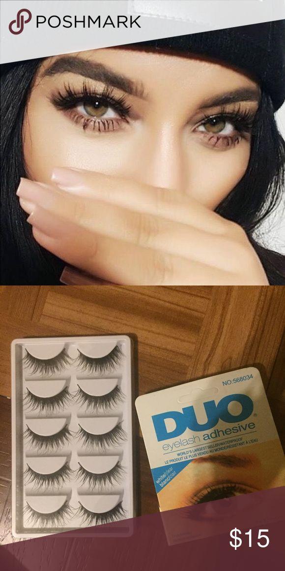 5x FALSE MINK WISPY EYELASHES+LASH GLUE BRAND NEW • 5 PAIRS + GLUE • USED MULTIPLE TIMES • NO TRADES Sephora Makeup False Eyelashes
