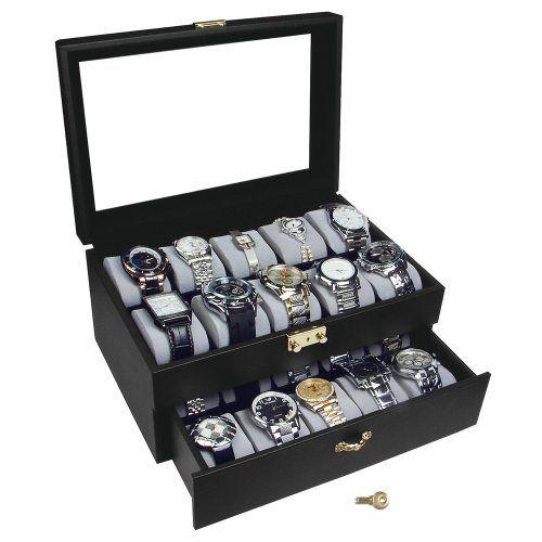 Deluxe Black Watch Display Case With Key Lock, Clear Glass Top, 20 Watch Holders. Plus Watch Repair Tool Set NILECORP http://www.amazon.com/dp/B007MSUK3U/ref=cm_sw_r_pi_dp_CA2iub1NXF486