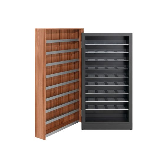 Genius shoe storage cabinet. Beautiful and stores lots of shoes. Perfect for a modern entrance/lobby.