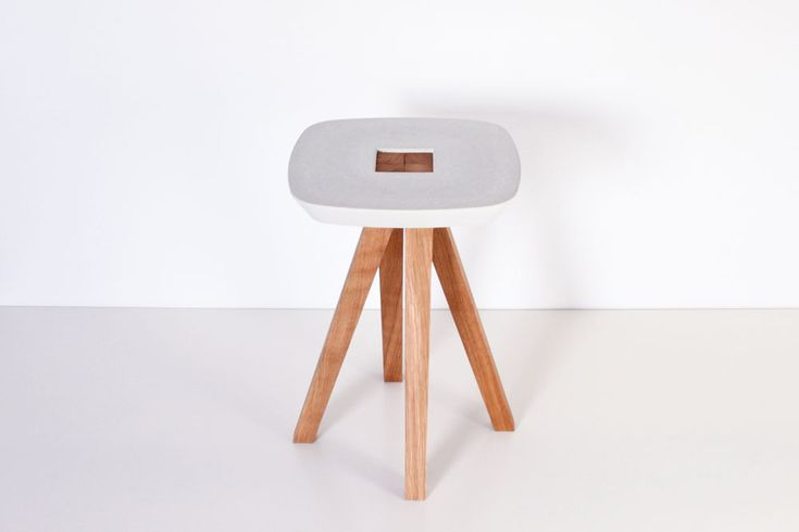 The Alliance of wood and concrete – Ydin stool by Inoow Design (© Inoow) I Yookô